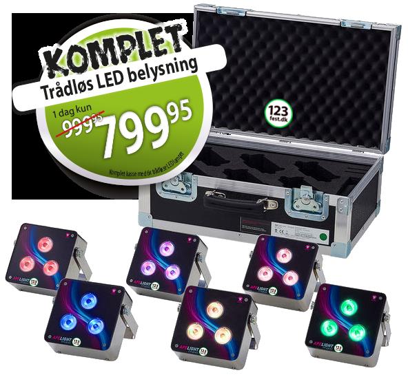 Belysning trådløs LED udlejning